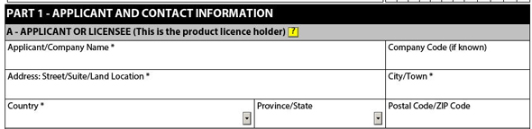 Figure 2: Applicant or Licensee Information
