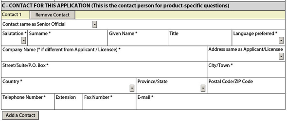 Figure 4: Contact for this Application Information