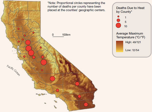 Figure 4: Geographic distribution of deaths in California due to heat - July, 2006