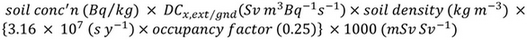 Equation for calculating the external dose from groundshine for radionuclide x