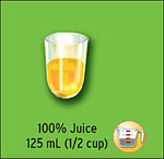 100% juice 125 ml (1/2 cup)