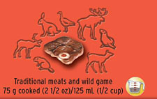 Traditional meats and wild game 75 g cooked (2 1/2 oz)/125 ml (1/2 cup)