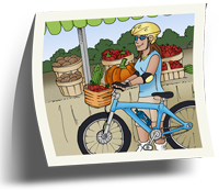Femme au march� des fruits et l�gumes avec sa bicyclette