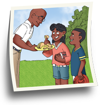 Father offering cantaloupe to his children in a park