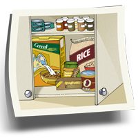 Food stored in cupboard