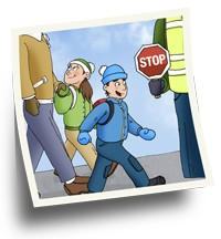 Two children crossing a street at a crosswalk