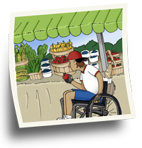 Man in a wheelchair choosing food at a fruit and vegetable market