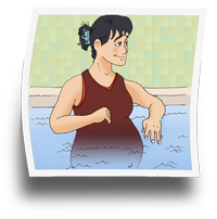Pregnant woman exercising in a pool