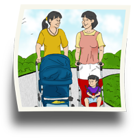 Two women walking with strollers