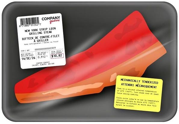 Figure 1. Prepackaged MTB steak with a separate label that contains all MTB labelling requirements.
