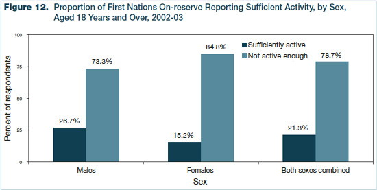 Figure 12 - Proportion of First Nations On-reserve Reporting Sufficient Activity, by Sex, Aged 18 Years and Over, 2002-2003