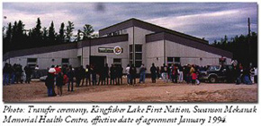 Picture of Transfer ceremony, Kingfisher Lake, January 1994.