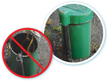 Image on left: Do not remove the well cap of a drilled well to inspect the casing. Right: Outside casing of a well; free of cracking, discolouration.