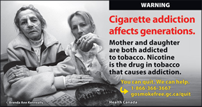 Mother and daughter, both smokers. Mother is visibly sick, but daughter is still smoking beside her